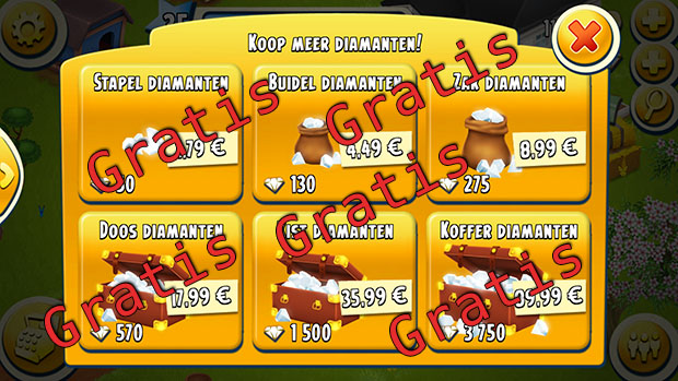 gratis diamanten in Hay Day